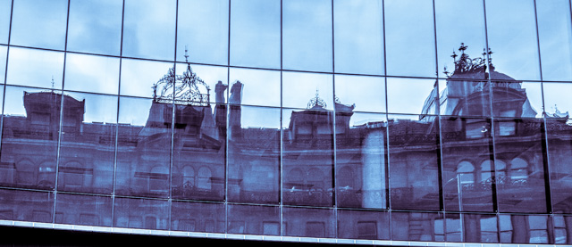 Reflection of the old sandstone buildings in my favourite glass fronted new building.